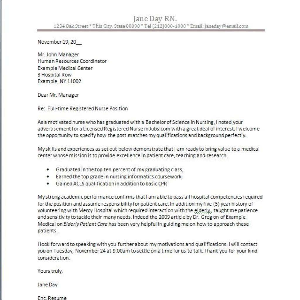 great nursing cover letter new grad