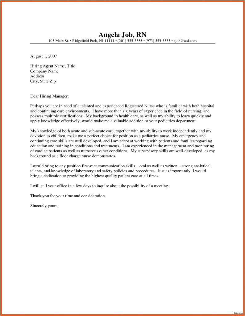 Sample Nursing Cover Letters New Grads New Grad Nurse Cover Letter Examples Resume Cover Letter