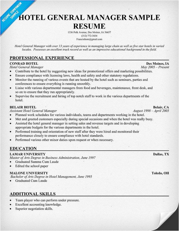 Sample Objective In Resume for Hotel and Restaurant Management Hotel General Manager Resume Resumecompanion Com