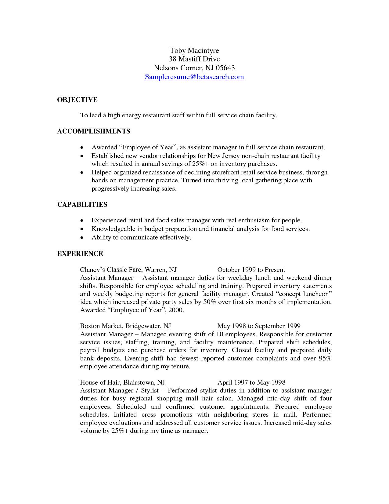 resume sample for ojt hotel and restaurant management