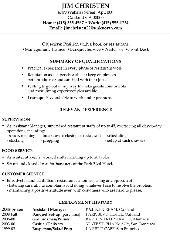 Sample Objective In Resume for Hotel and Restaurant Management Resume Sample Hotel Management Trainee and Service