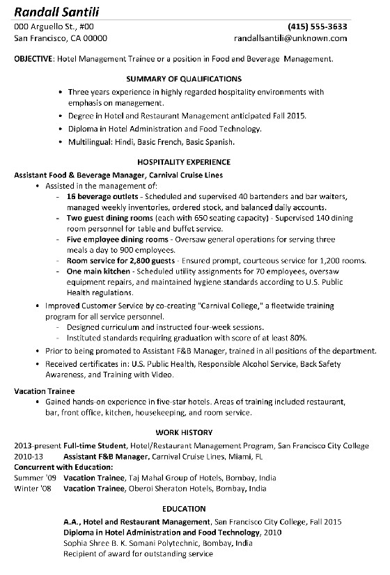 resume sample hotel management trainee food beverage management
