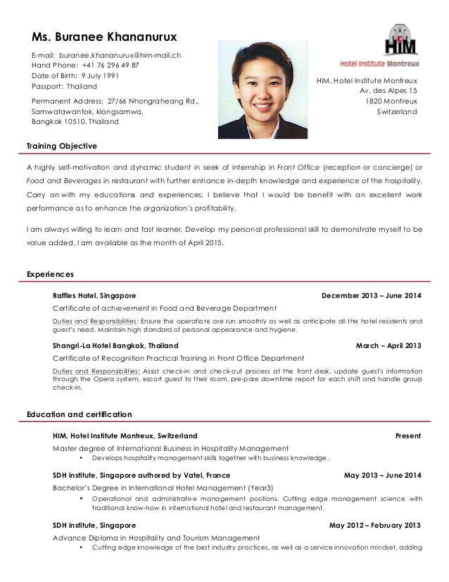 sample resume for hotel and restaurant management 1283