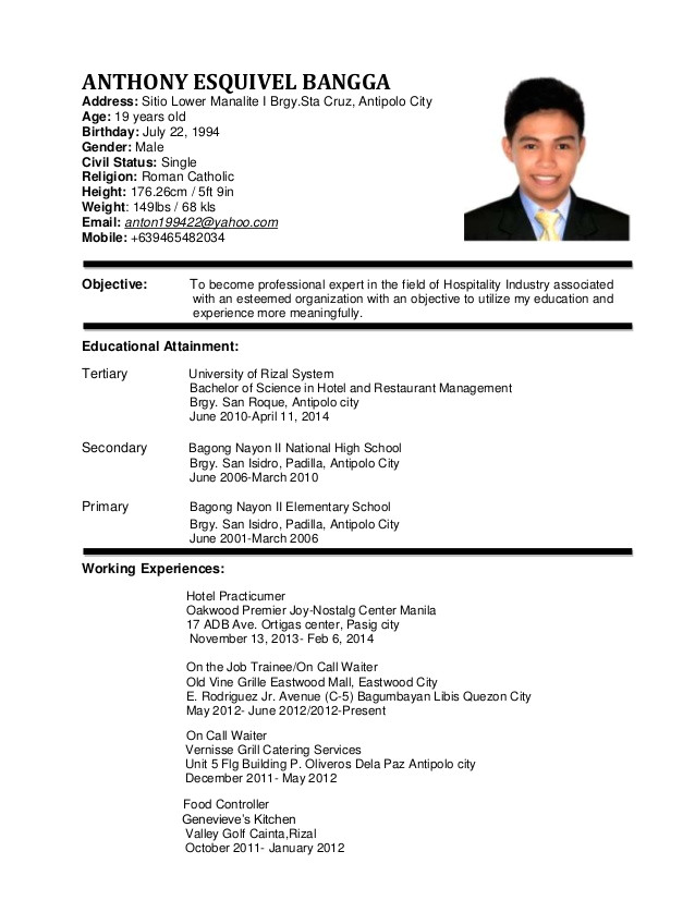 sample resume for hotel and restaurant management 1283
