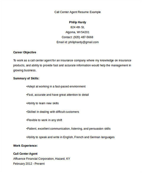 Sample Objectives In Resume for Call Center Agent Call Center Resume the Key Success for the Applicants