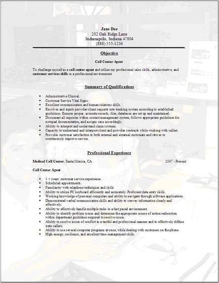 call center sample resume