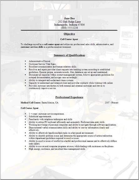 Sample Objectives In Resume for Call Center Agent Call Center Sample Resume Best Professional Resumes