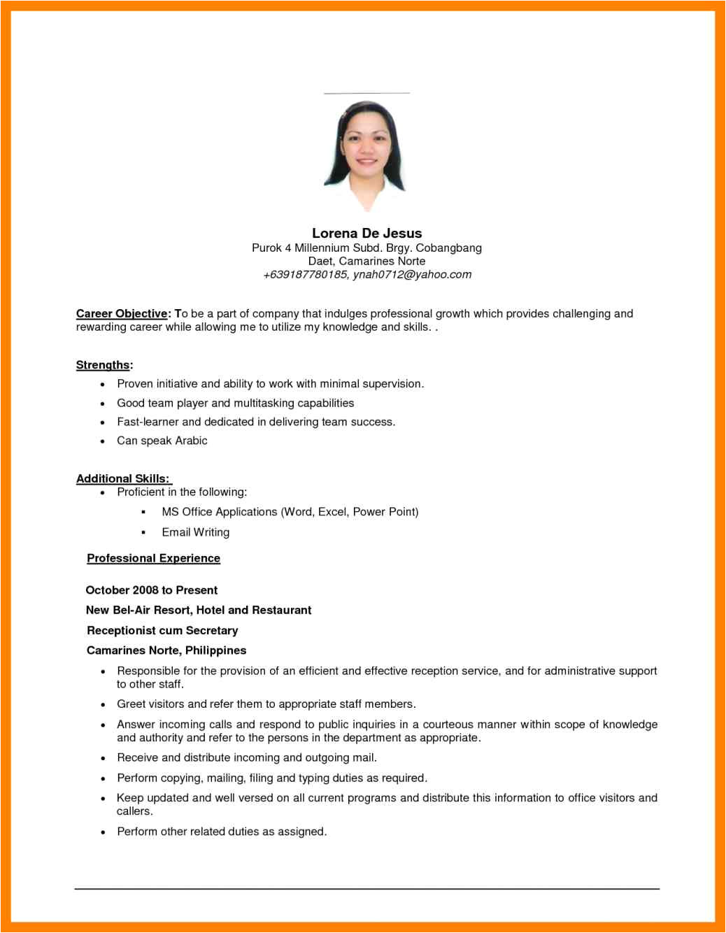 8 sample ojt resume for office ad