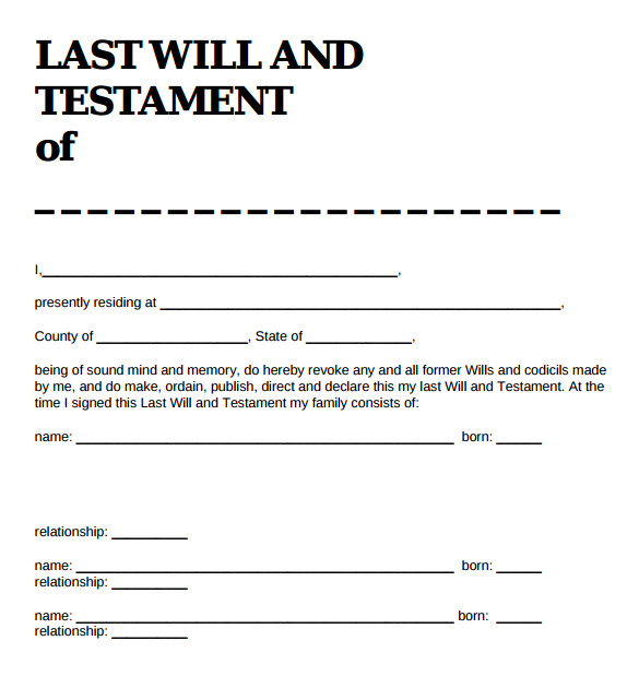 Sample Of A Last Will and Testament Template 9 Sample Last Will and Testament forms Sample Templates