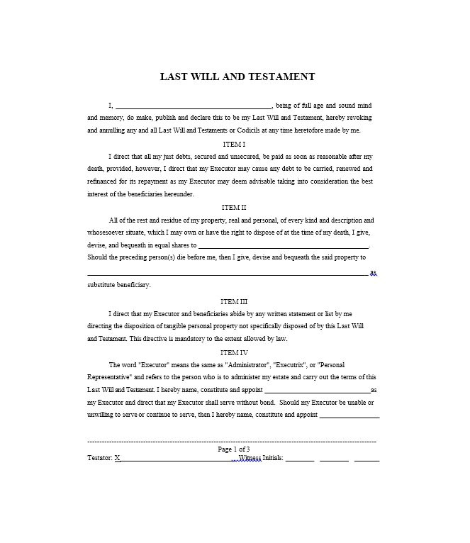 Sample Of A Last Will and Testament Template Last Will and Testament Samples and Templates
