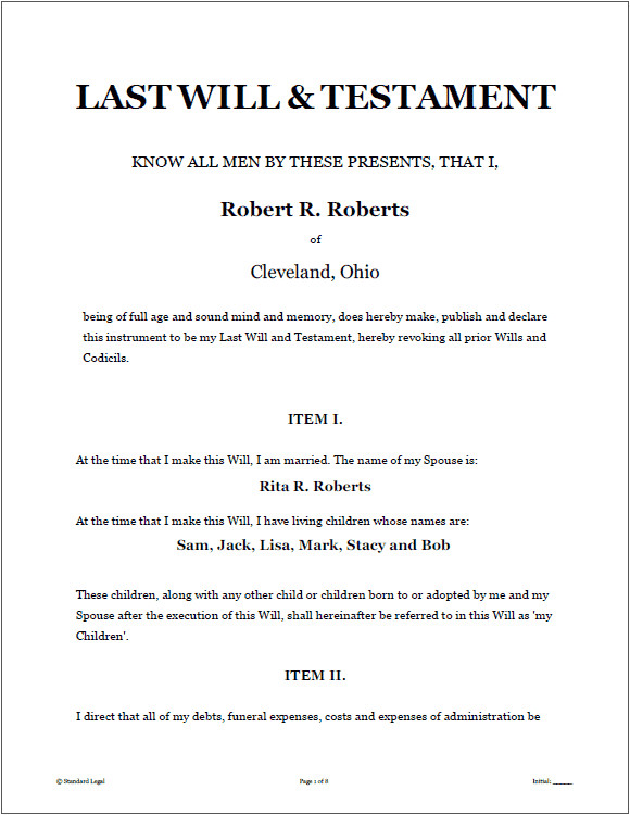Sample Of A Last Will and Testament Template Last Will and Testament Template Real Estate forms