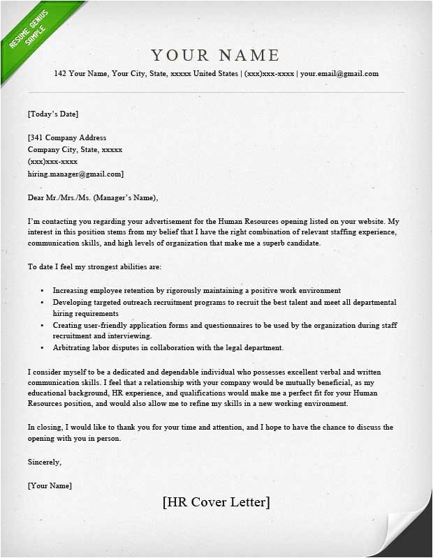 Sample Of Cover Letter for Human Resource Position Human Resources Cover Letter Sample Resume Genius