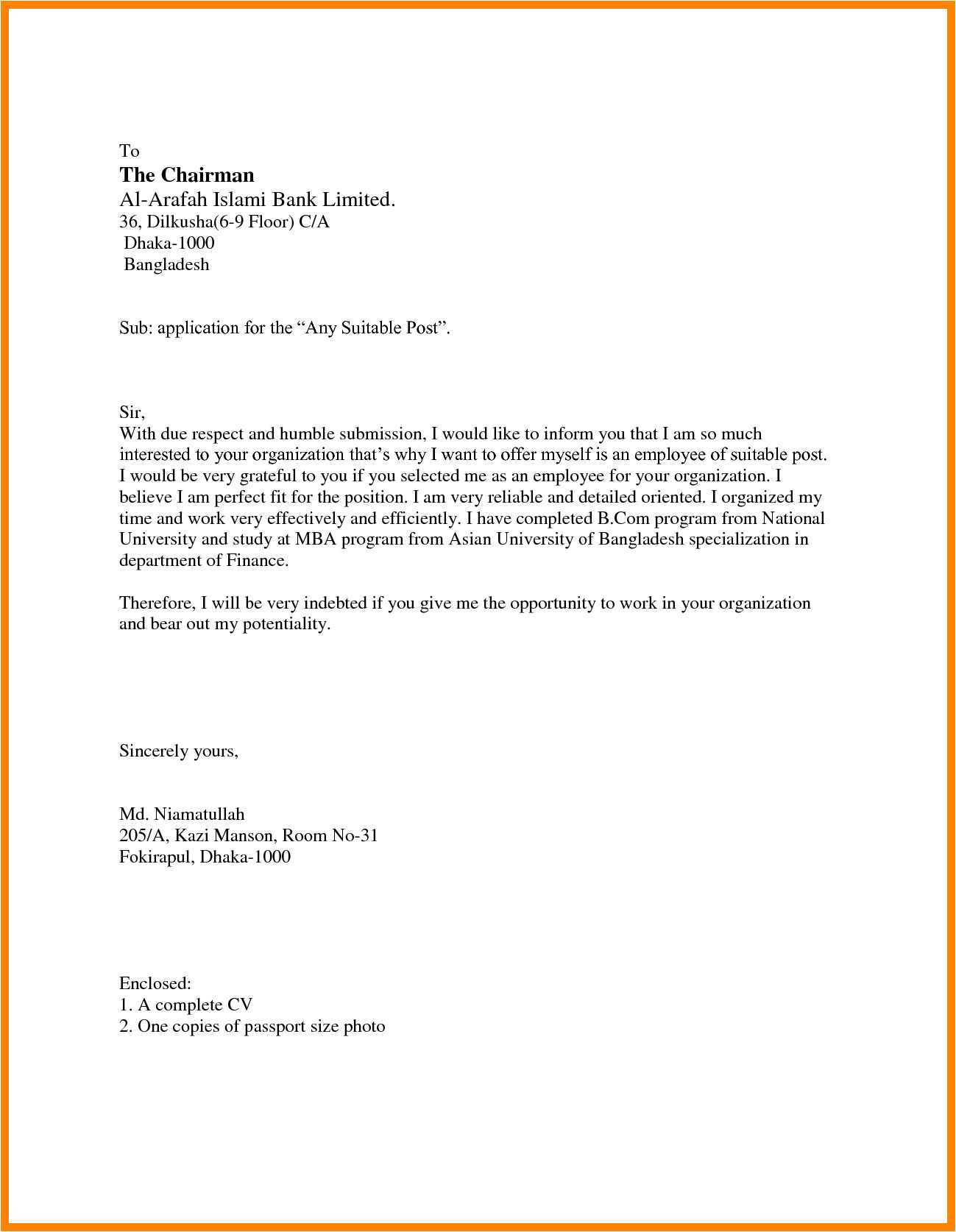 6 simple application letter sample for any position