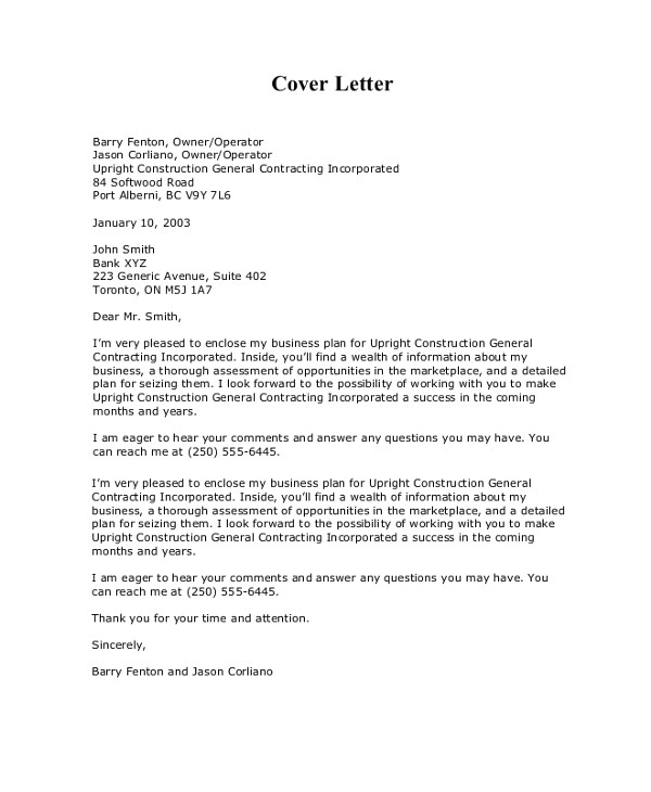 business proposal cover letter