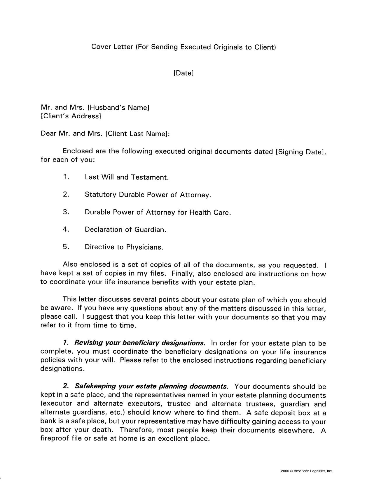 cover letter for sending documents