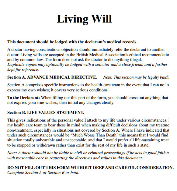Sample Of Living Will Template 8 Living Will Samples Sample Templates