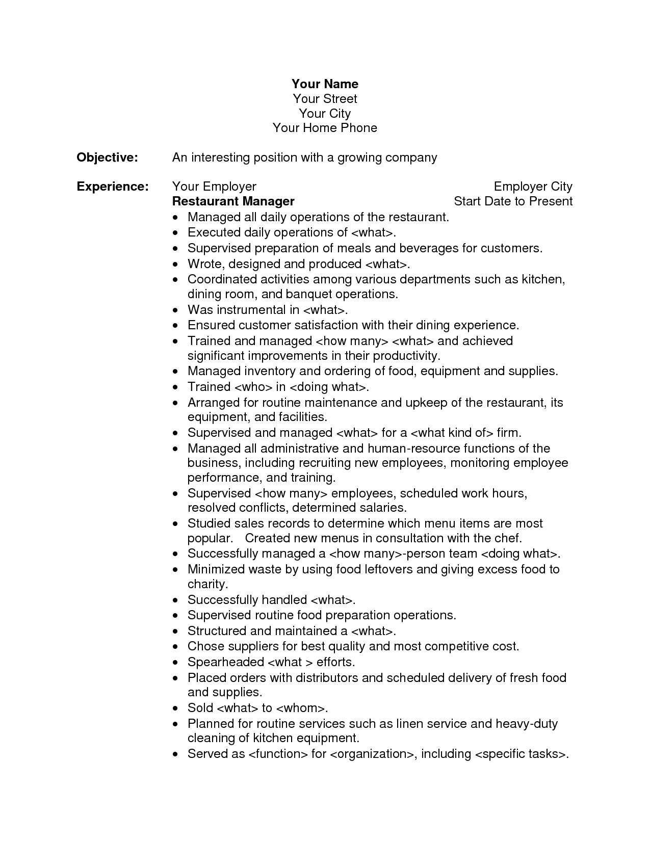 Sample Of Objectives In Resume for Hotel and Restaurant Management Restaurant Manager Resume Objective the Best Resume