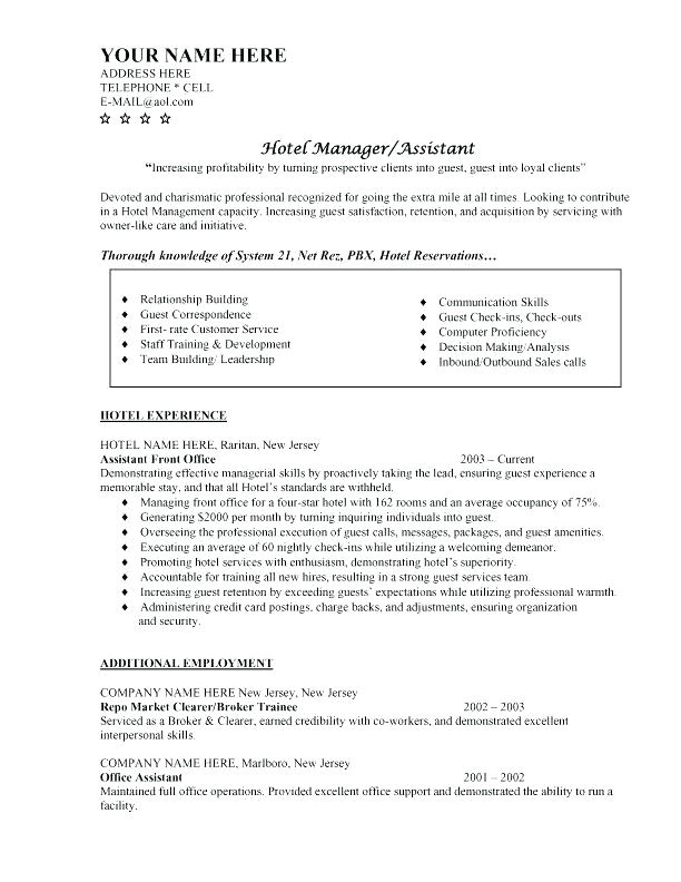 sample of objectives in resume for hotel and restaurant management hotel manager resume general manager resume sample sample resume for