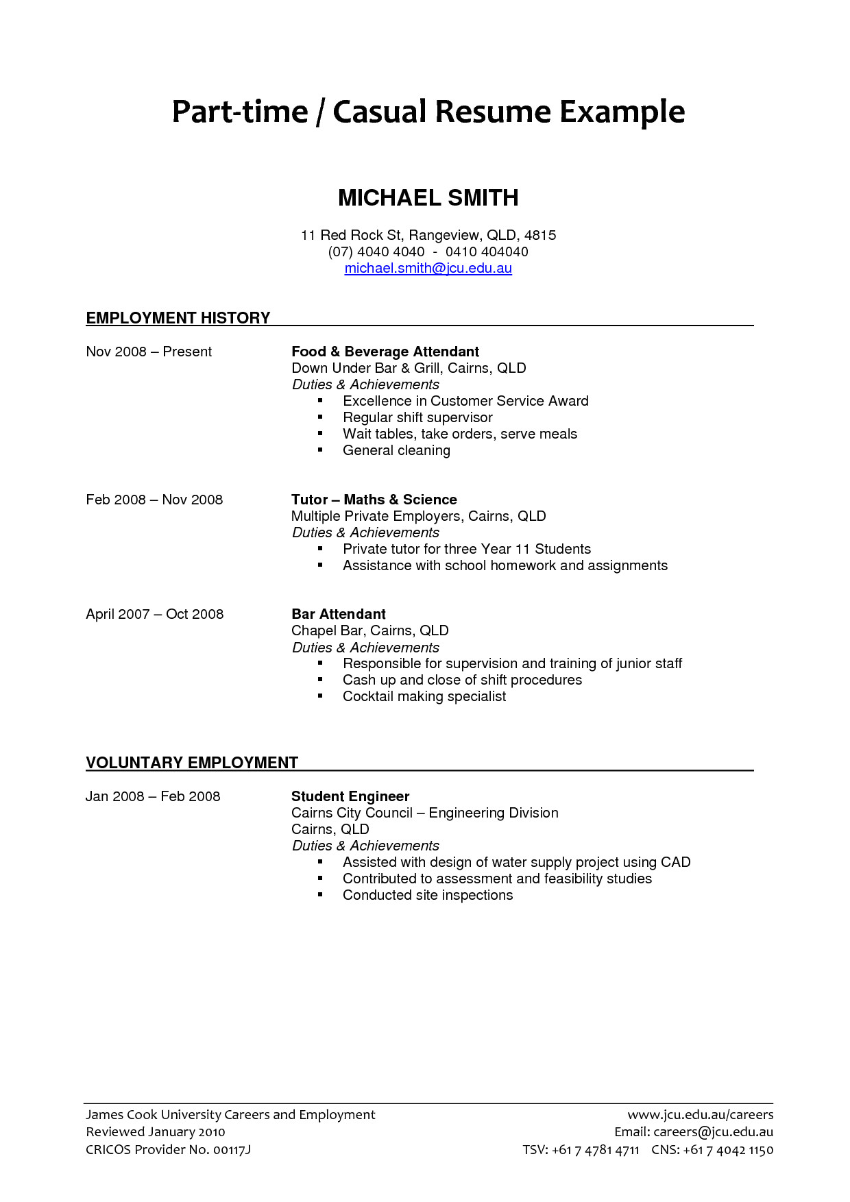 Sample Of Resume for Part Time Job by Student Part Time Job Resume Examples 2018 Resume Examples 2018