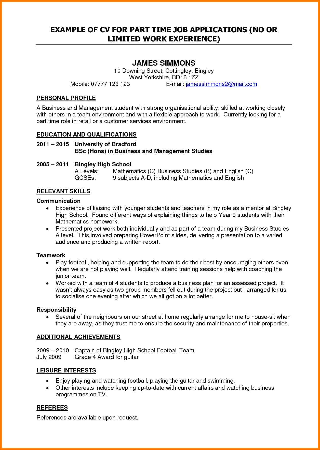 resume objective for a part time job
