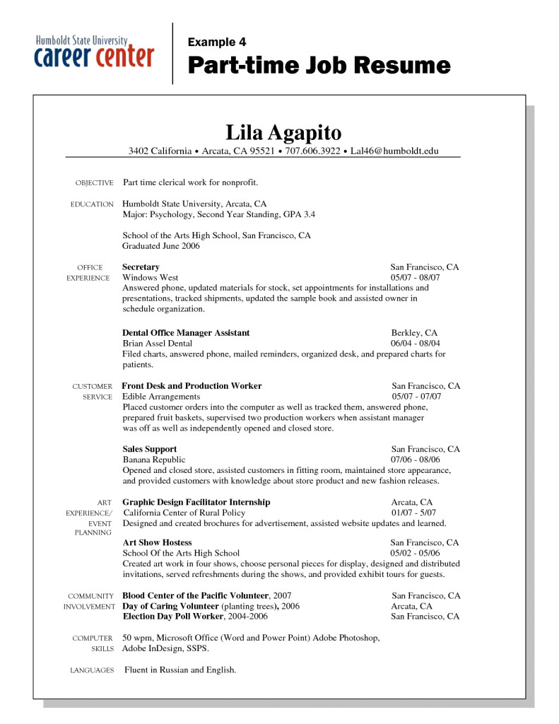 resume objectives sample for a part time job