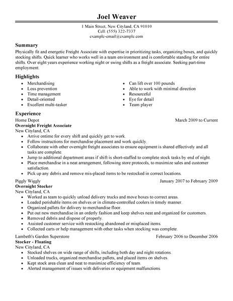 resume sample for part time job of student