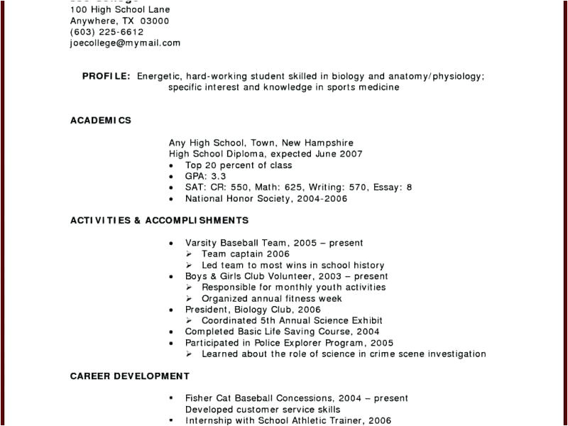 sample resume for working student