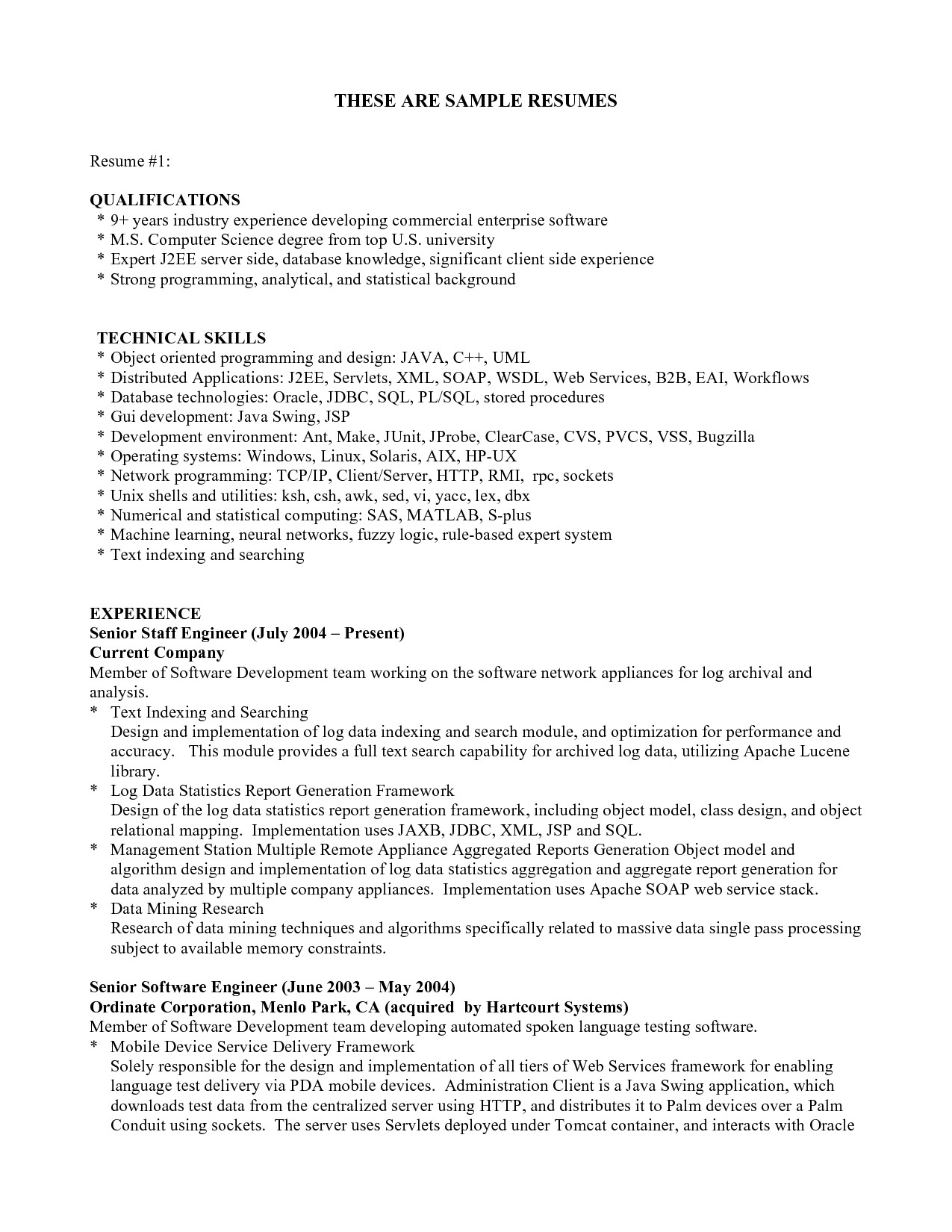 sample of qualification in resume