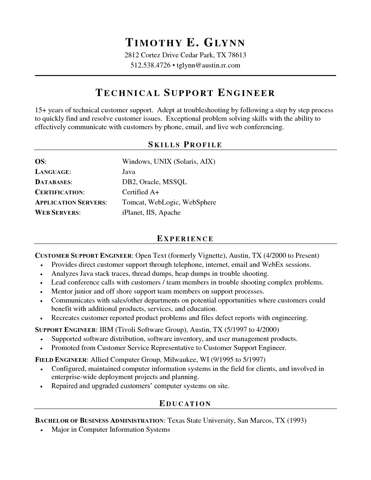 resume technical skills