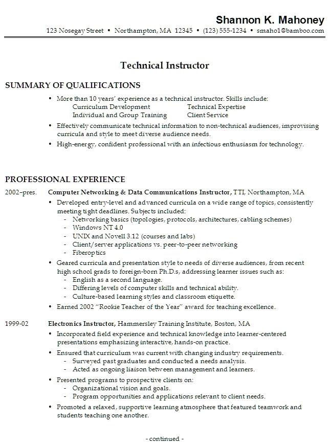 resume work experience samples 3505