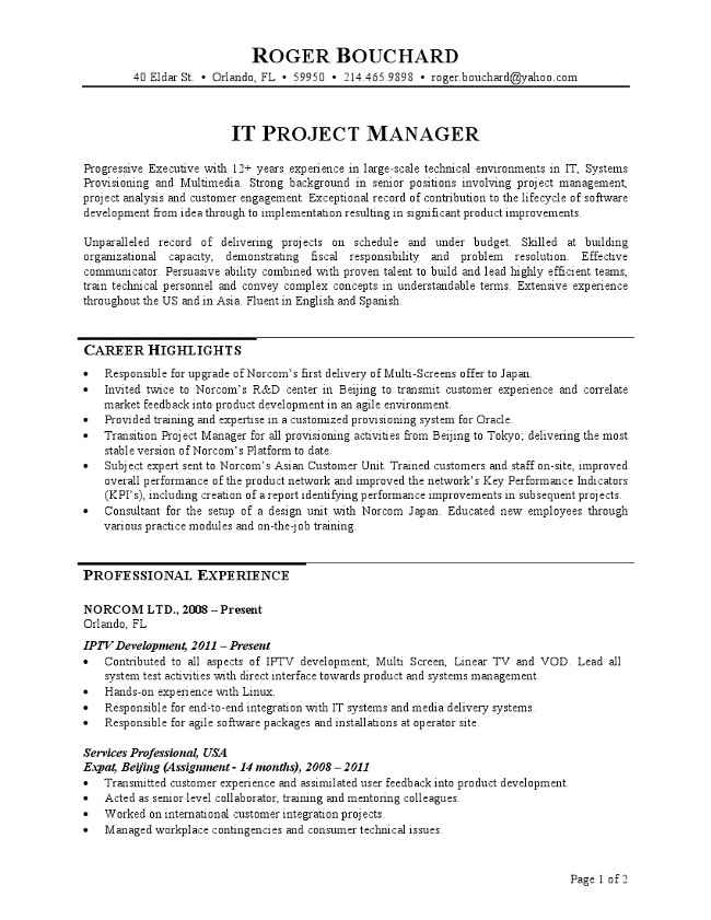 Sample Project List for Resume It Project Manager Resume