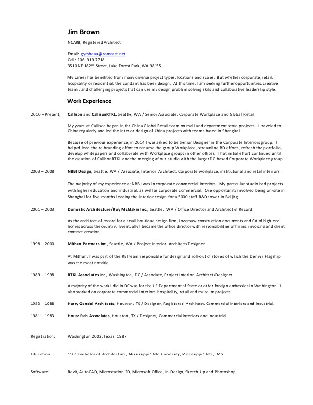 jim brown resume project list 2016