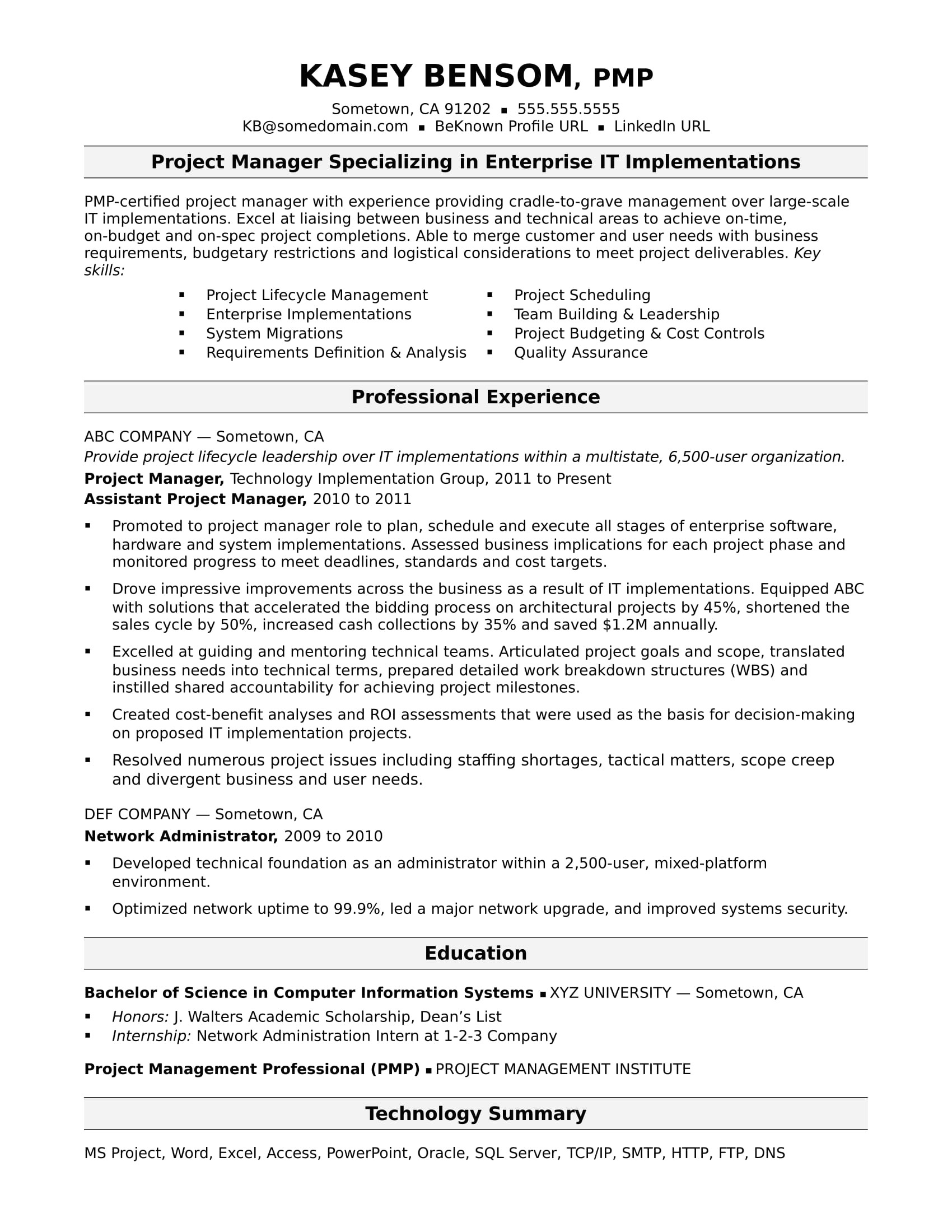 Sample Project List for Resume Sample Resume for A Midlevel It Project Manager Monster Com