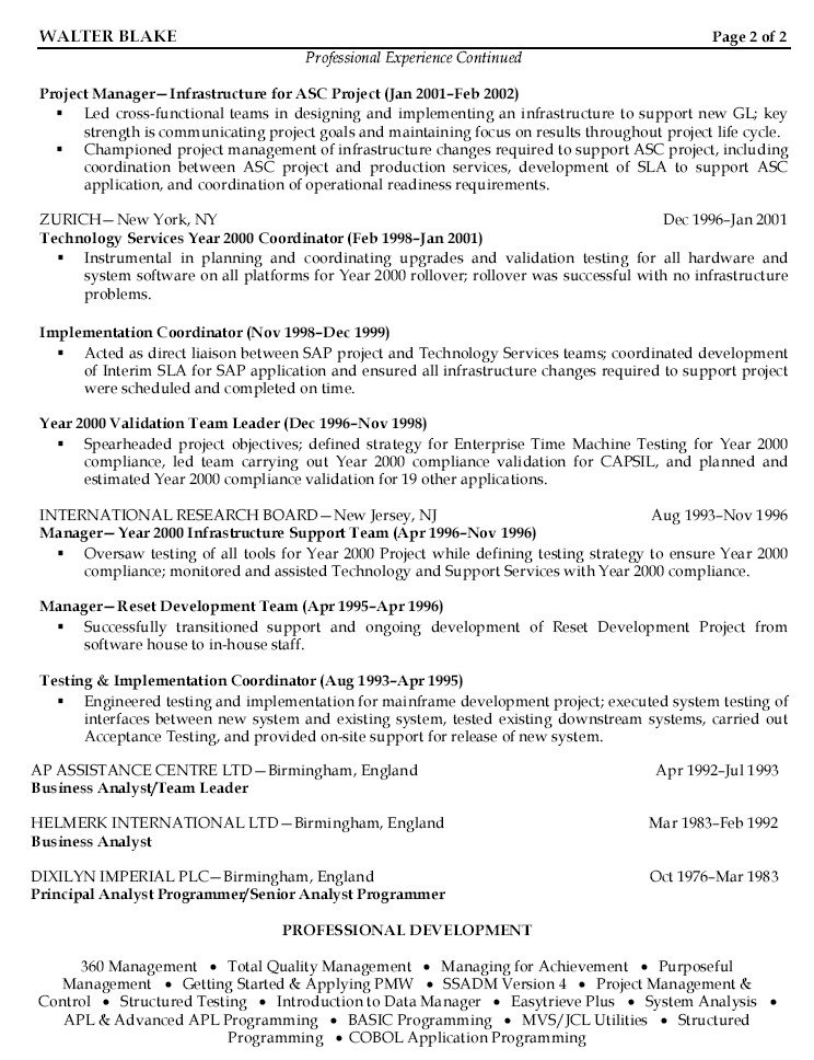 sample resume project manager