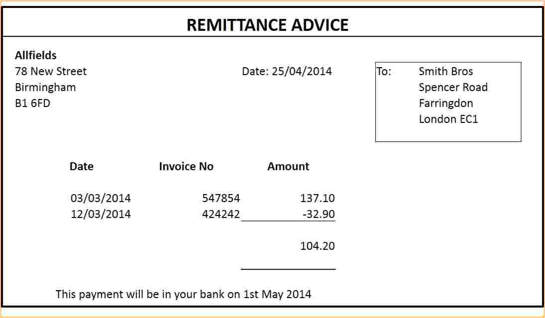 8 sample remittance advice slip