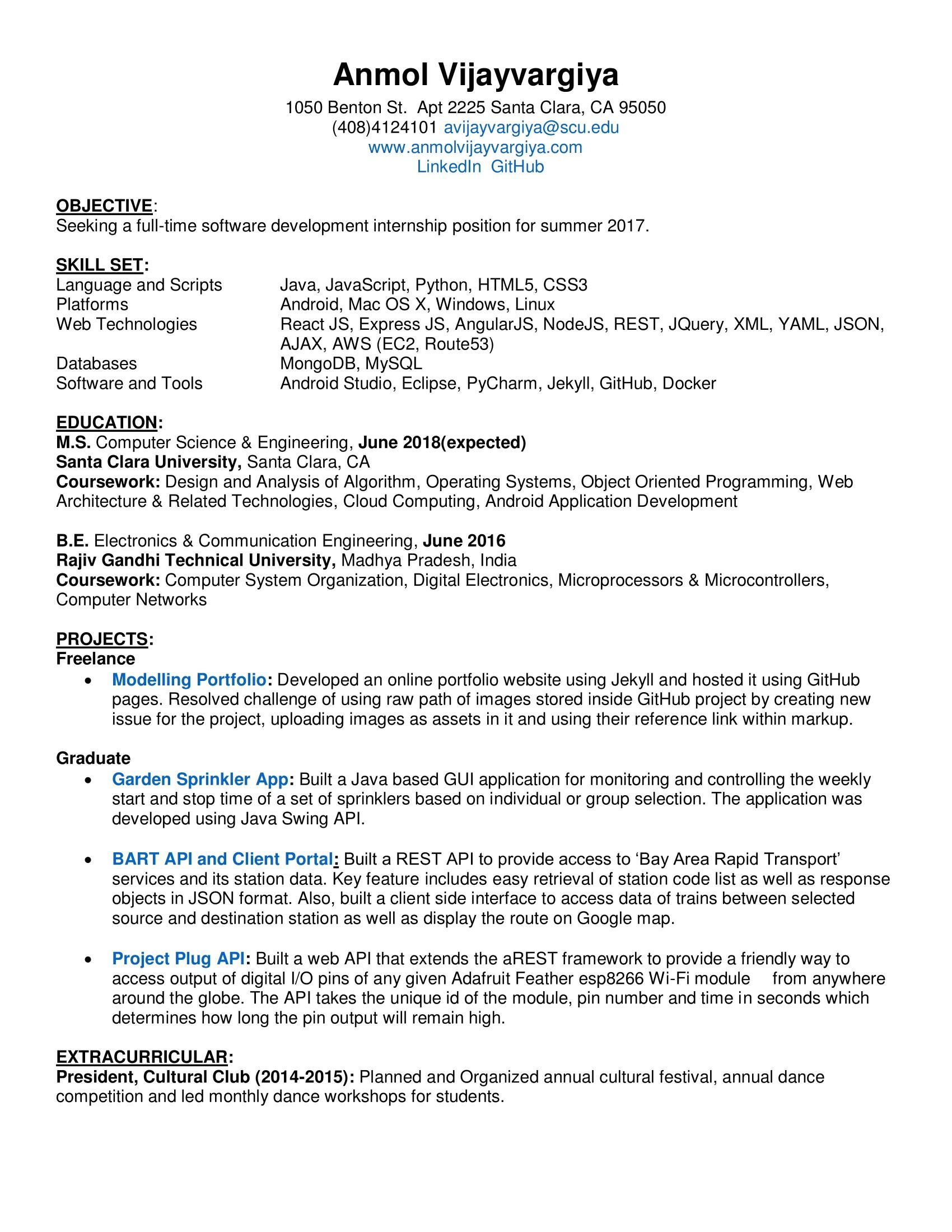 angularjs developer resume