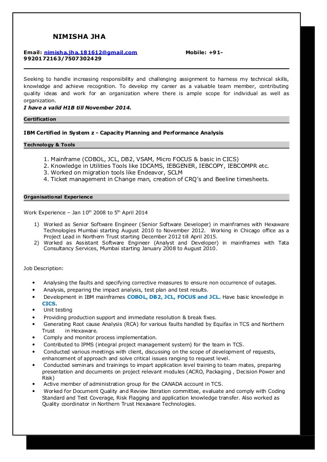 resume nimisha jha mainframe developer 6 years 5 months 47027850