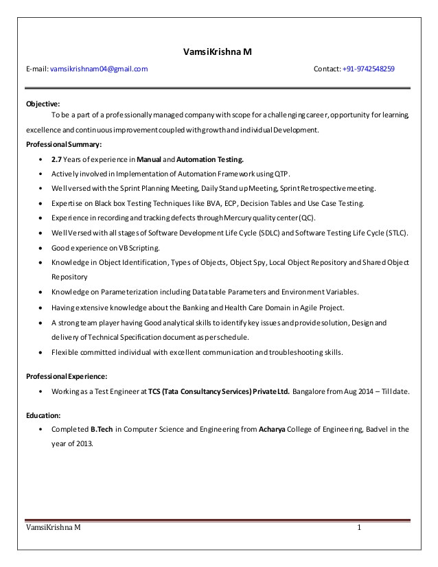 sample resume for 2 years experience in manual testing