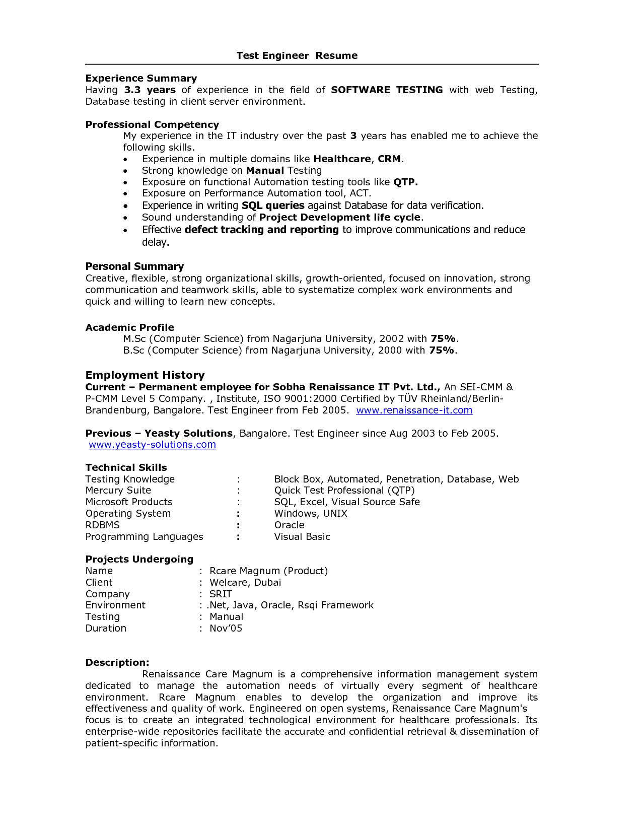 Sample Resume for 2 Years Experience In Manual Testing software Testing Resume Samples 2 Years Experience