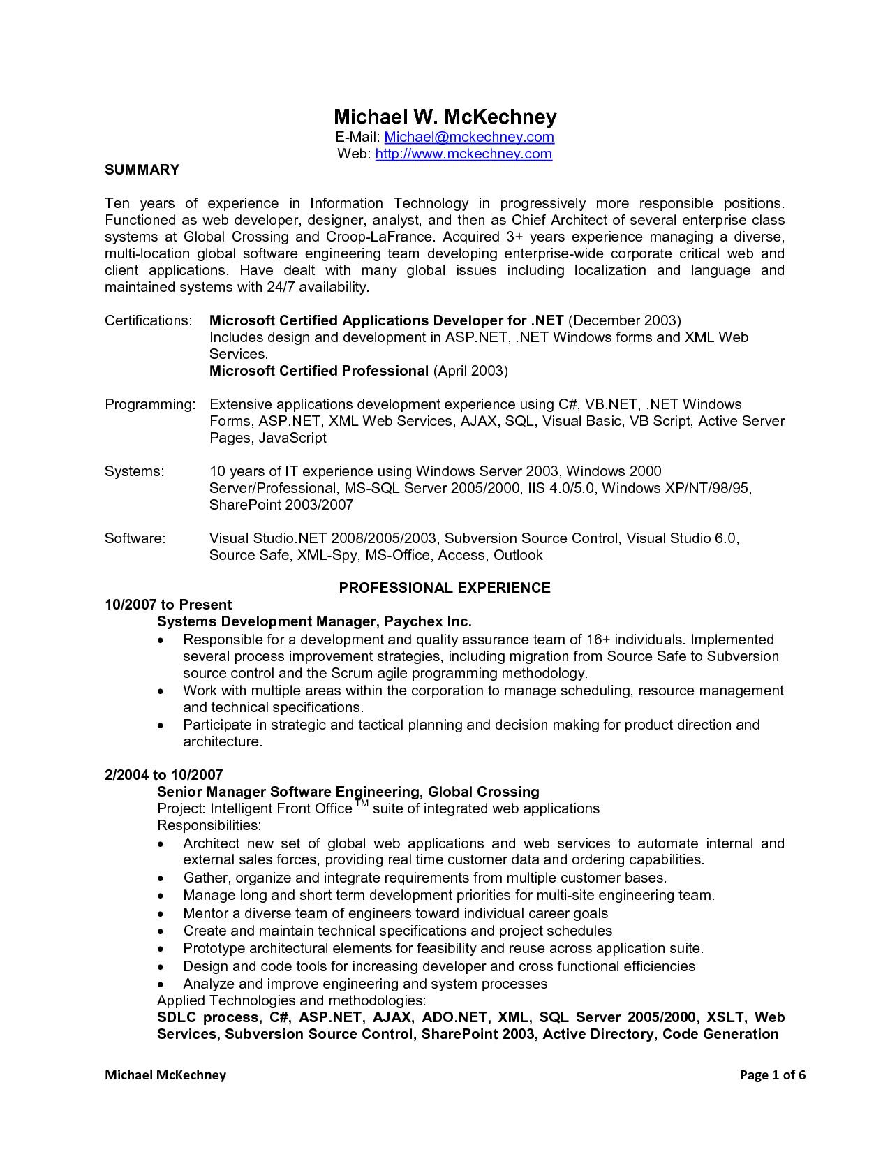 net developer resume 5 years