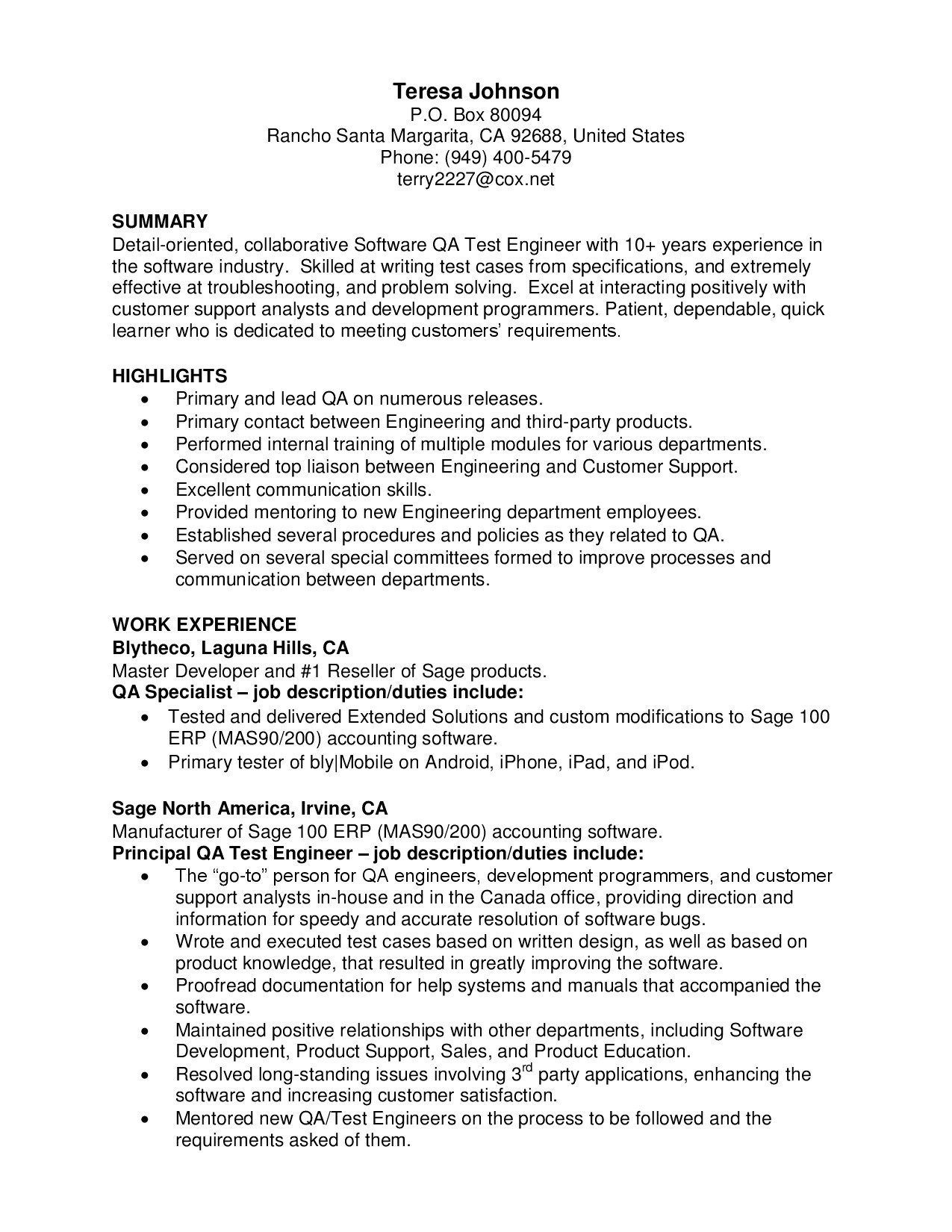 Sample Resume for 2 Years Experience In software Testing software Testing Resume Samples for Experience Krida Info