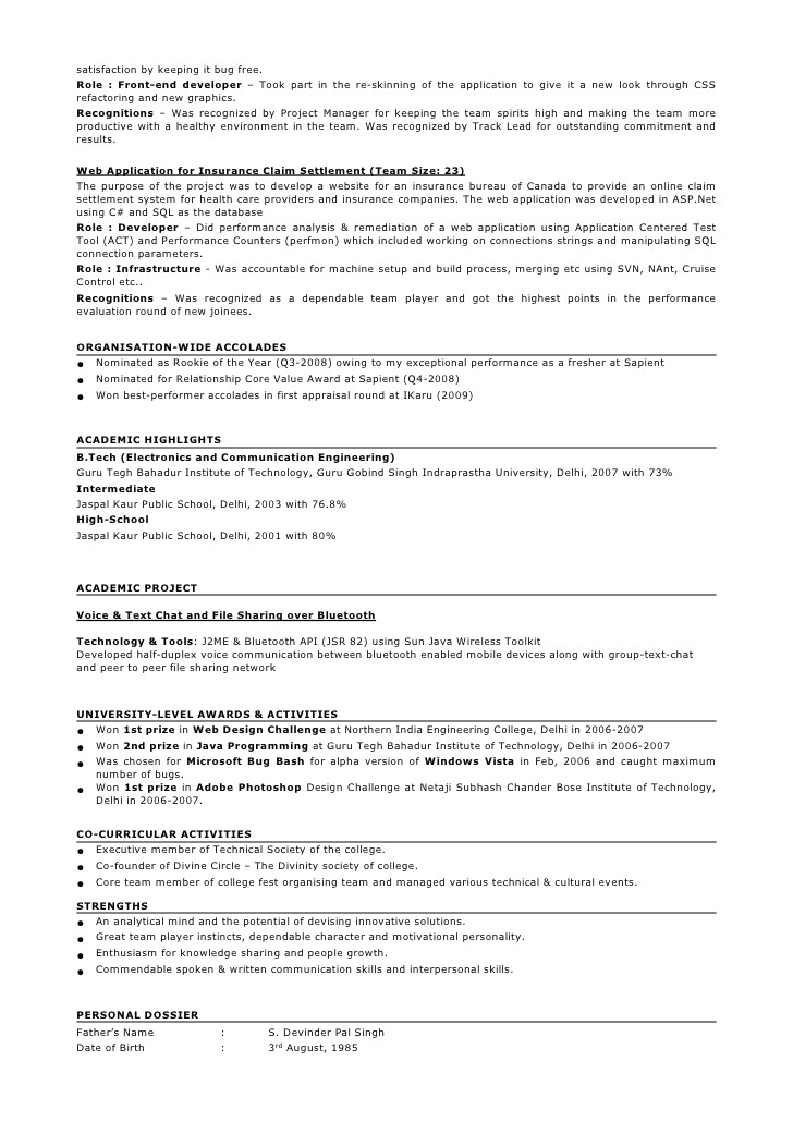 Sample Resume for 2 Years Experience In Testing Sample Resume format for 2 Years Experience In Testing