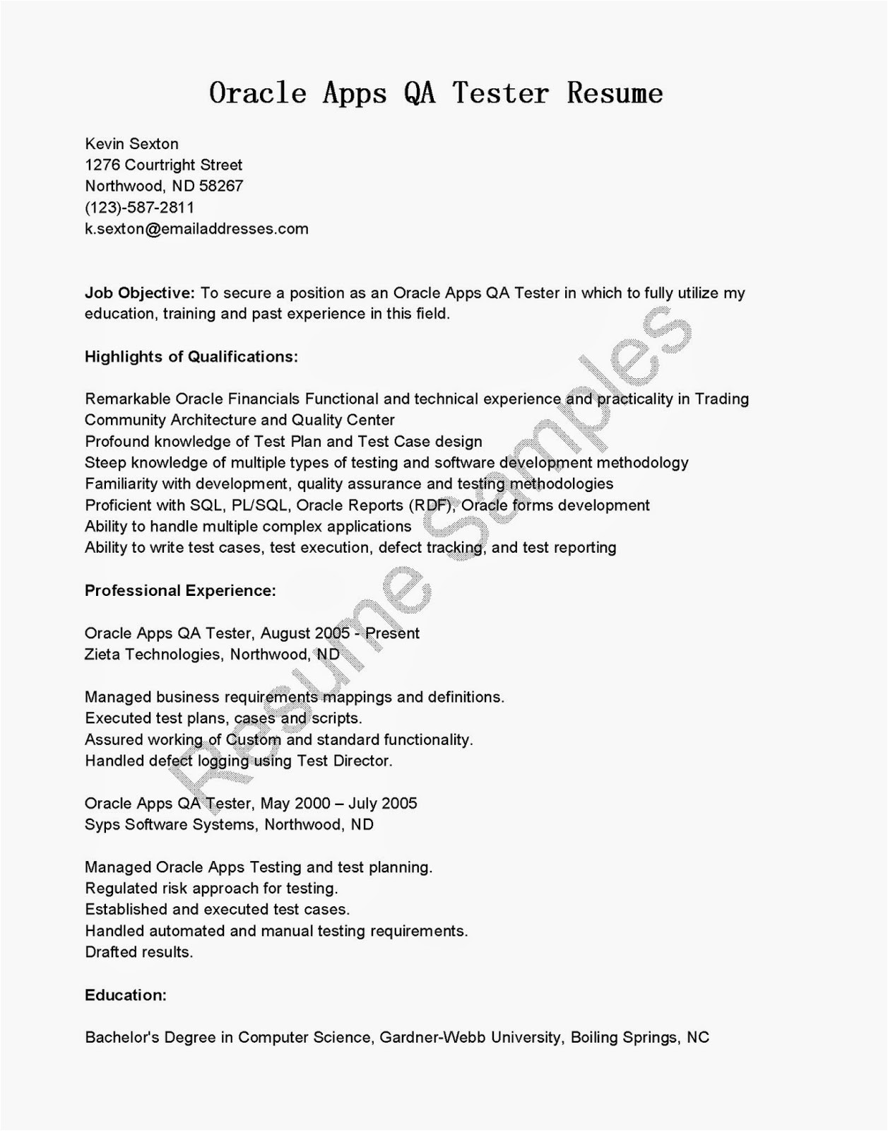 testing resume for 2 years in experience