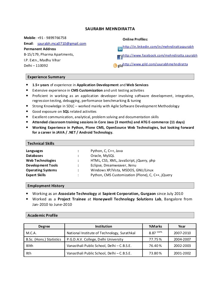 resume format for 1 year experienced software engineer