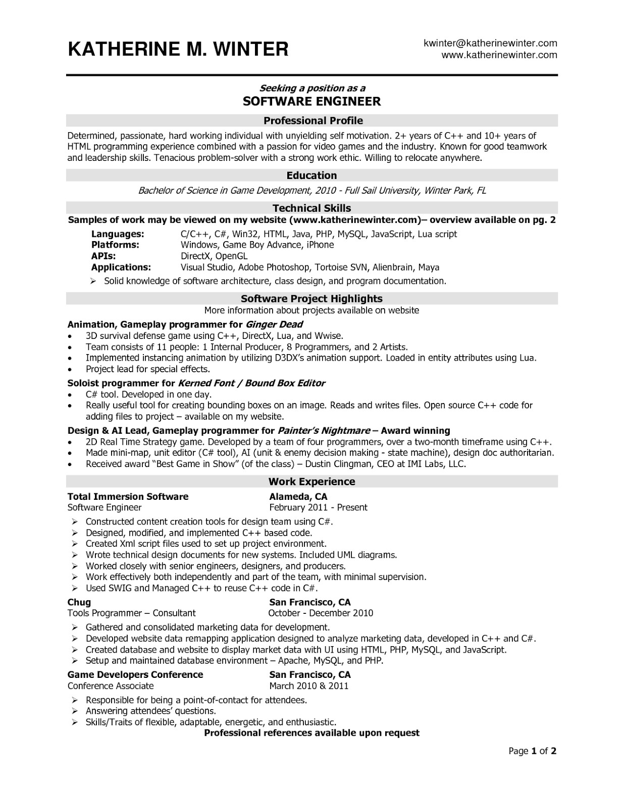 Sample Resume for 2 Years Experienced software Engineer Sample Resume for software Engineer with 2 Years