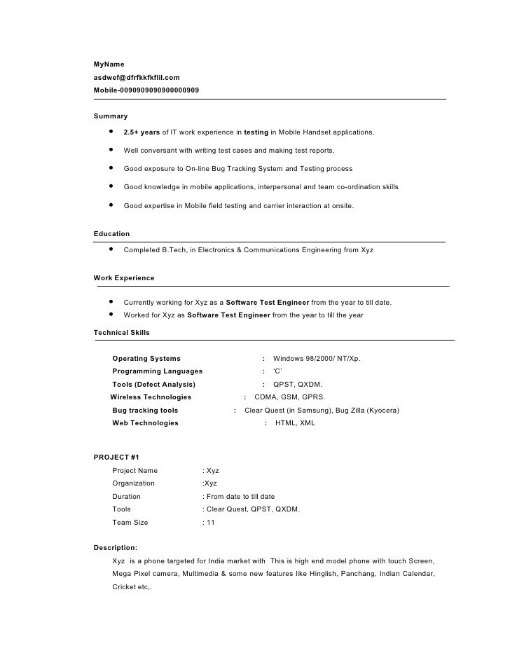 Sample Resume for 3 Years Experience In Manual Testing Sample Resume for 2 Years Experience In software Testing
