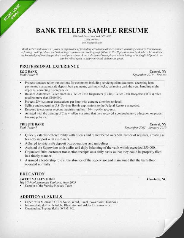 Sample Resume for A Bank Teller with No Experience Bank Teller Resume Sample Writing Tips Resume Genius