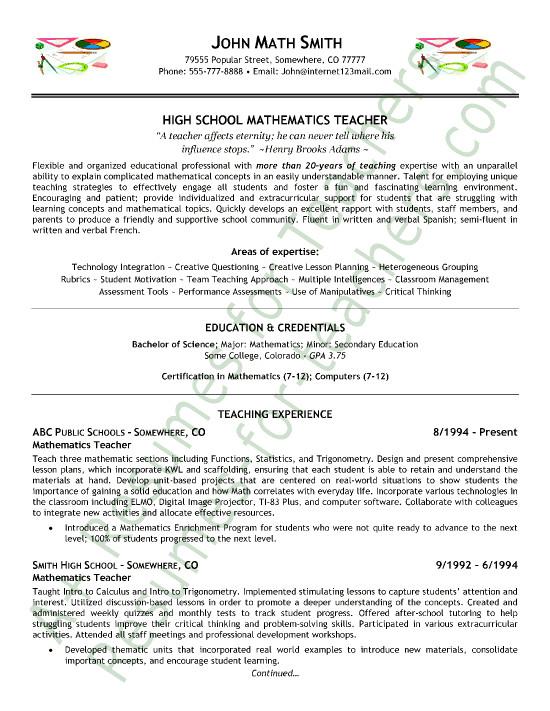 Sample Resume for A Teacher Position Math Teacher Resume Sample