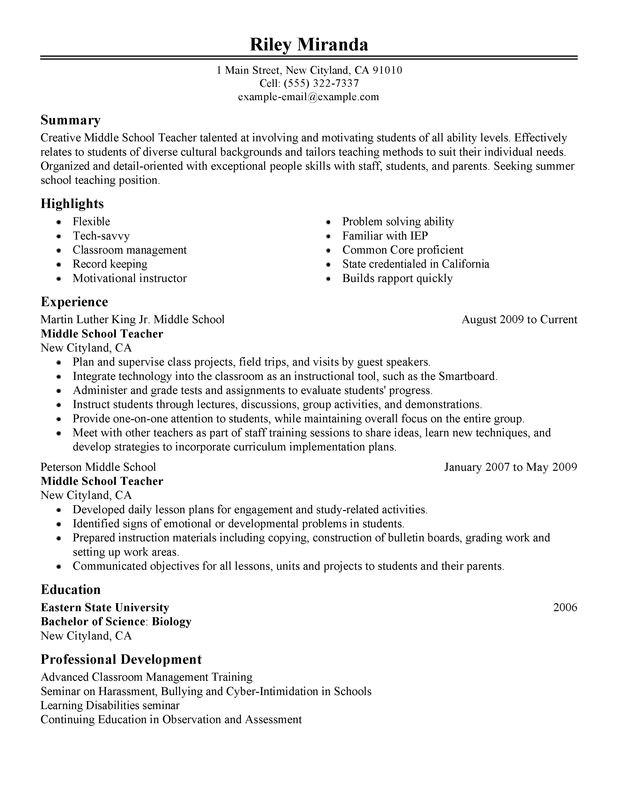 summer teacher resume sample