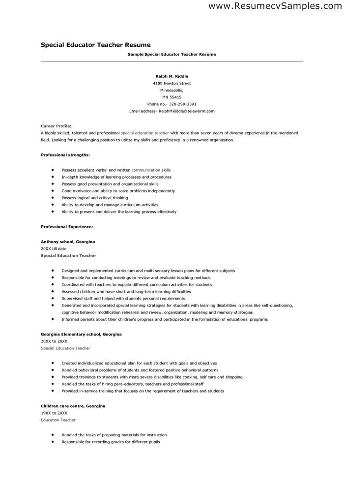 writing a resume for a teaching position